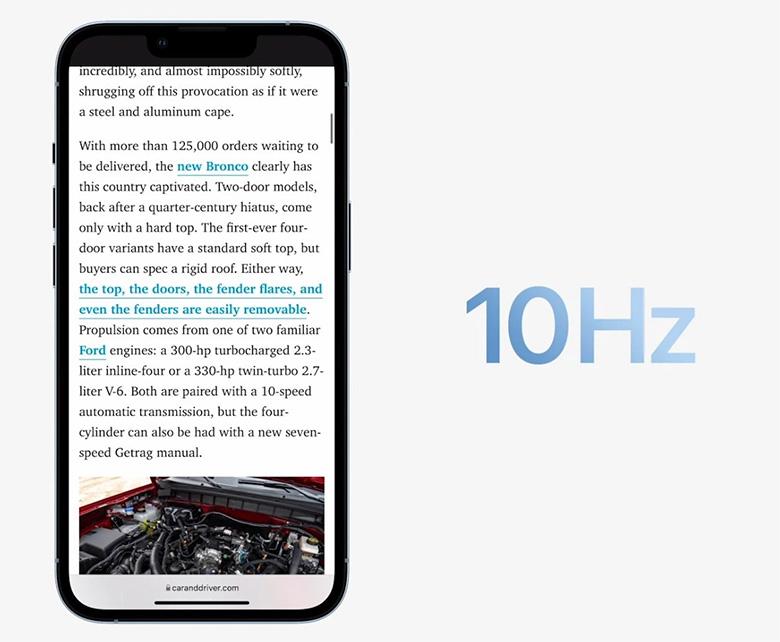 Màn hình iPhone 13 Pro series có tốc độ làm mới 120Hz mượt mà